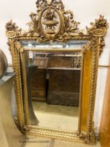 A Napoleon III giltwood and gesso mirror, W.100cm H.150cm