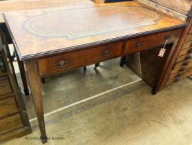 A George III style walnut two drawer writing table, W.122cm D.60cm H.80cm