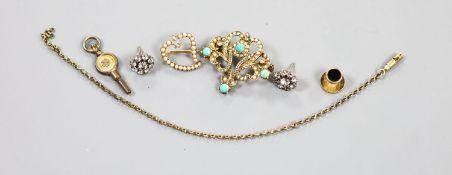 An Edwardian 15ct and seed pearl set open work heart brooch, 18mm, gross 2.1 grams, a modern 9ct