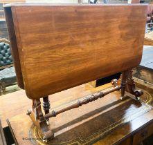 A Victorian walnut Sutherland table, W.91cm H.73cm