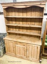 A Victorian style pine dresser, W.153cm D.47cm H.223cm