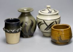 Andrew Rudebeck. A pottery jar and cover, 22cm and three Studio pottery vases