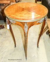 A Louis XVI style marquetry inlaid circular kingwood occasional table, diameter 50cm, height 76cm