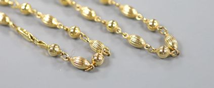 An Italian 375 Uno-A-Erre fluted bead and sphere link chain, 48cm, 16.5 grams.
