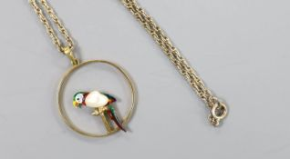 An early 20th century 15ct, enamel and baroque pearl set open work circular pendant, 22mm, gross 2.
