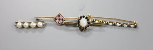 Two yellow metal and gem set bar brooches including ruby and diamond cluster, 46mm, gross 4.3