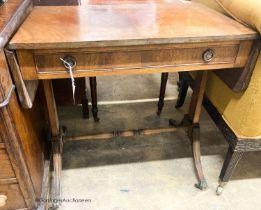 A 1920's reproduction mahogany sofa table, W.74cm H.47cm H.73cm