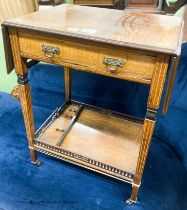A late Victorian inlaid rosewood drop flap occasional table, extended 85cm D.39cm H.67cm