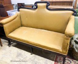 A Regency ebonised settee, W.162cm D.70cm H.120cm