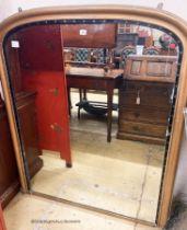 A late Victorian overmantel mirror, W.110cm H.132cm