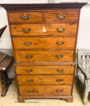 A George III mahogany chest on chest, W.114cm D.60cm H.185cm
