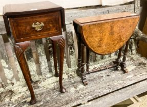 A Victorian walnut Sutherland table, W.52cm H.54cm together with a Queen Anne revival walnut drop