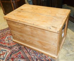 A Victorian pine blanket box with drawer, width 79cm, depth 50cm, height 50cm
