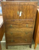 A 1920's mahogany three drawer side cabinet, stamped Waring & Gillow, W.61cm D.44cm H.110cm
