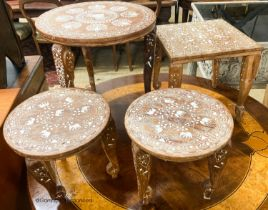 Four Indian inlaid circular occasional tables, largest W.45cm H.46cm