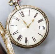 An early Victorian silver pair cased key wind verge pocket watch movement marked Ballard, Cranbrook,
