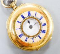 A continental 18k and enamel half hunter pocket watch, case diameter, 38mm, gross weight 42.2