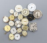 A small quantity of wrist watch movements including Baume & Mercier, Omega and Rotary.