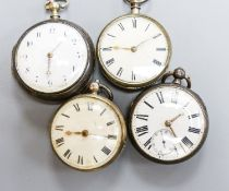 A George III silver pair cased keywind verge pocket watch, movement signed Jackson, Maidstone and