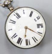 A Victorian silver keywind verge pocket watch movement marked Mathew, Uckfield, (outer case