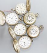 Four Victorian silver keywind full hunter pocket watches and two silver keyless half hunter pocket