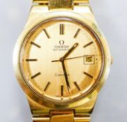A gentleman's gold plated Omega automatic wristwatch, with date aperture, on a gold plated Omega