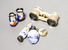 Cased pair of opera glasses, signed Deraisme, Paris, pair Royal Worcester miniature Toby jugs and