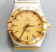 A gentleman's 1990's steel and gold Omega Constellation Perpetual Calendar wrist watch, with box and