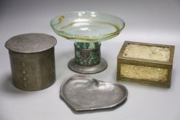 Three Arts & Crafts pewter items and a pierced hardstone box(a.f.).Including an unmarked Tudric