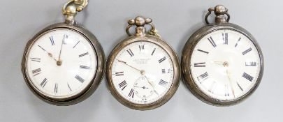Three 18th/19th century silver pair cased keywind verge pocket watches, including Newland, London.