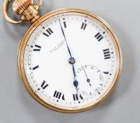 An early 20th century Swiss 9ct gold open faced keyless pocket watch, movement signed Record W.