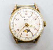 A gentleman's stainless steel and gold plated Ebel calandar manual wind wrist watch (no strap), case
