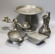 J Garnier - cast pewter jug in Art Nouveau style, Two Liberty's Tudric hammered pewter items and two