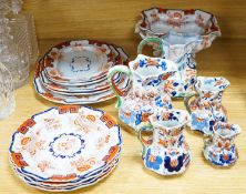 Five Masons ironstone jugs and a Masons ironstone part dinner service, to include a tureen and an