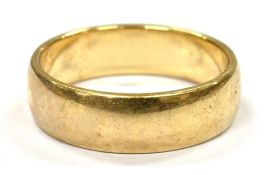 A 9CT GOLD PLAIN WEDDING BAND the D profile band 6mm wide hallmarked 9ct gold, weighing approx. 5.