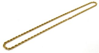A 9CT GOLD ROPE CHAIN the solid, heavy gauge rope link chain with trigger claw fastener, 24 inches