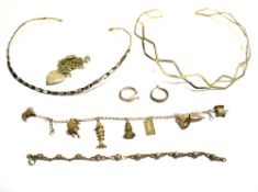 SOME ITEMS OF SILVER JEWELLERY comprising two torque style necklaces, a fine link charm bracelet