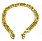 A 14CT GOLD FILIGREE BRACELET (as found) with claw fastener, small heart shaped links, note the
