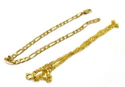 A 9CT GOLD FINE LINK BRACELET the three and one Figaro link bracelet 18cm long, together with a 9ct