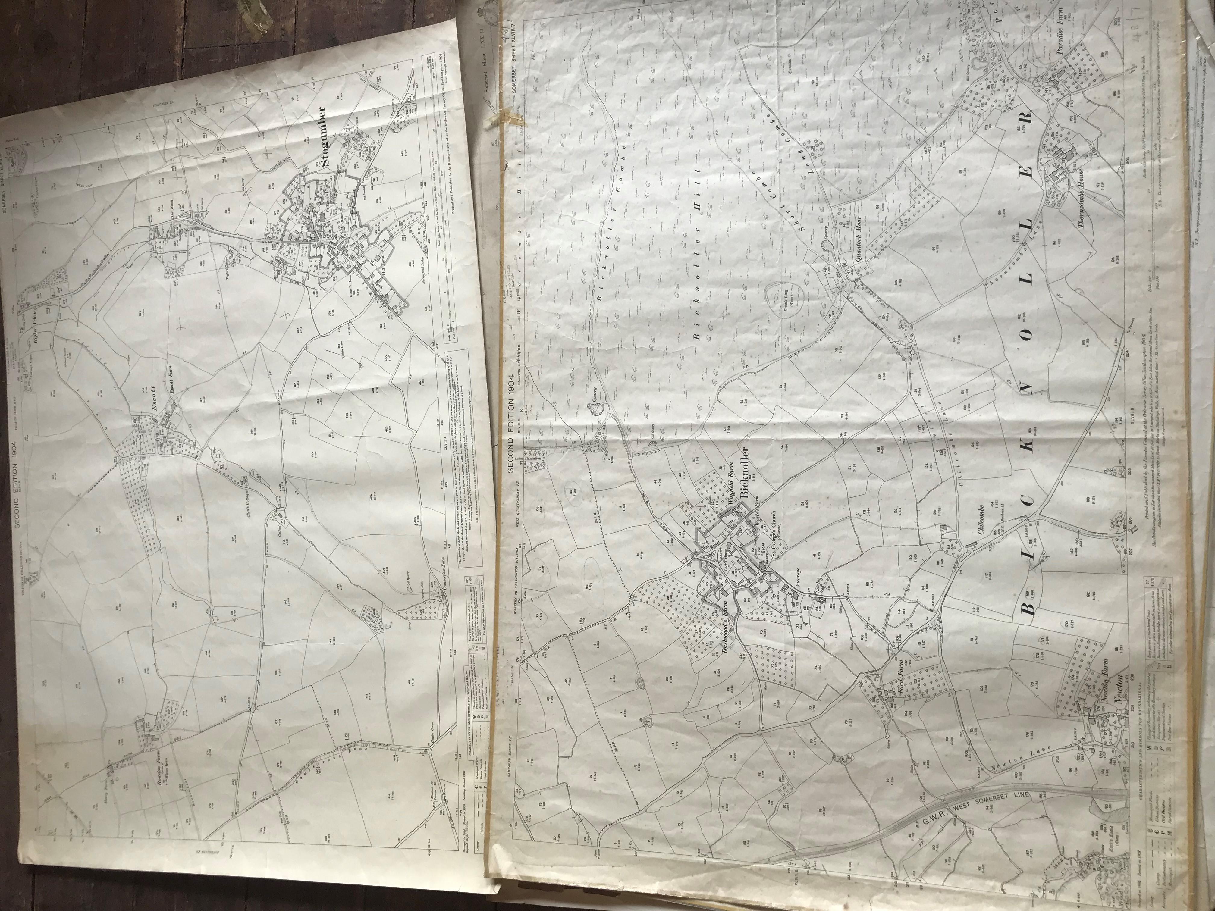 THIRTY 1:2500 ORDNANCE SURVEY MAPS featuring Chelston, Ham, Sampford Brett, Wellington, - Image 12 of 16