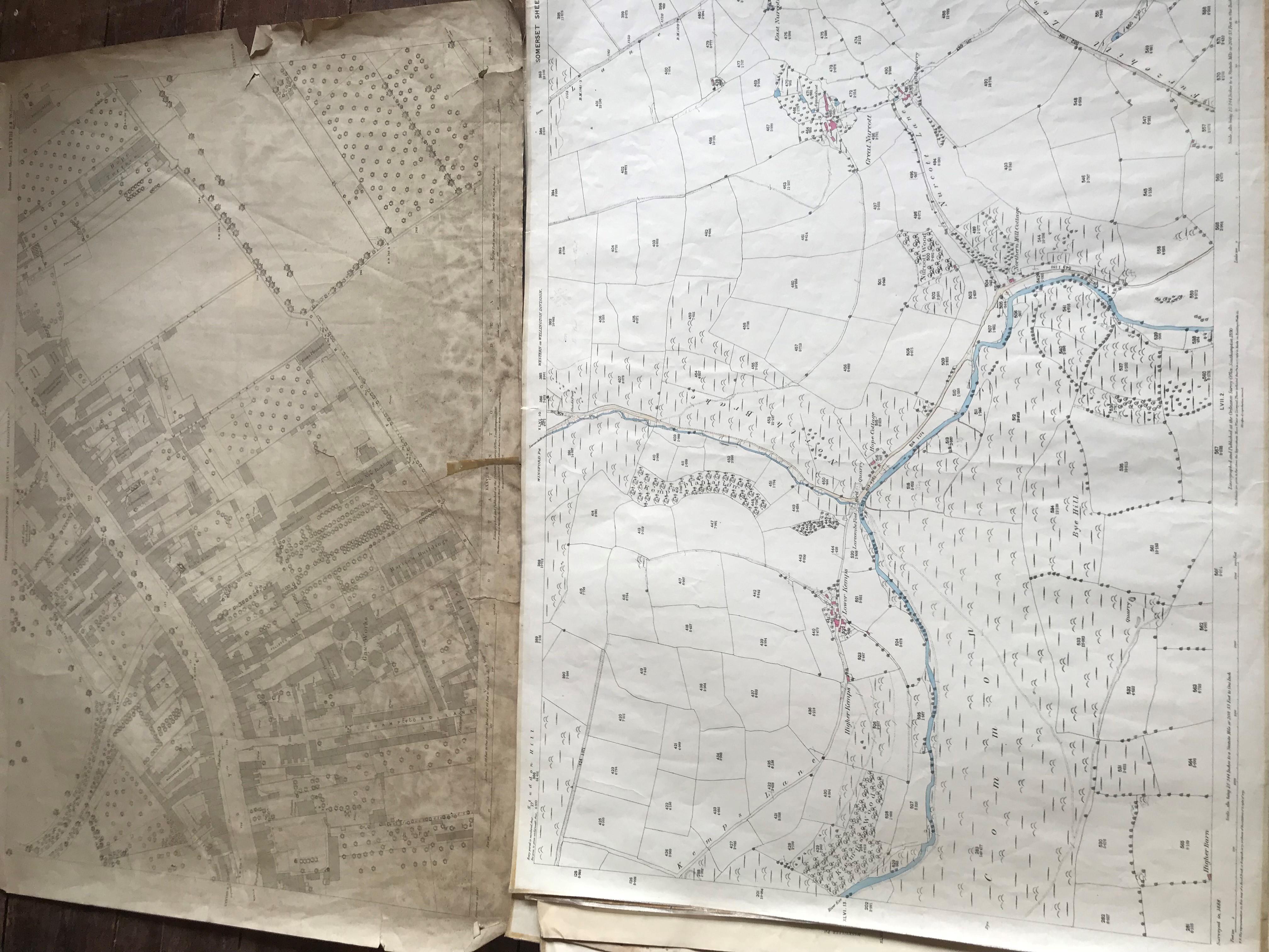 THIRTY 1:2500 ORDNANCE SURVEY MAPS featuring Chelston, Ham, Sampford Brett, Wellington, - Image 10 of 16
