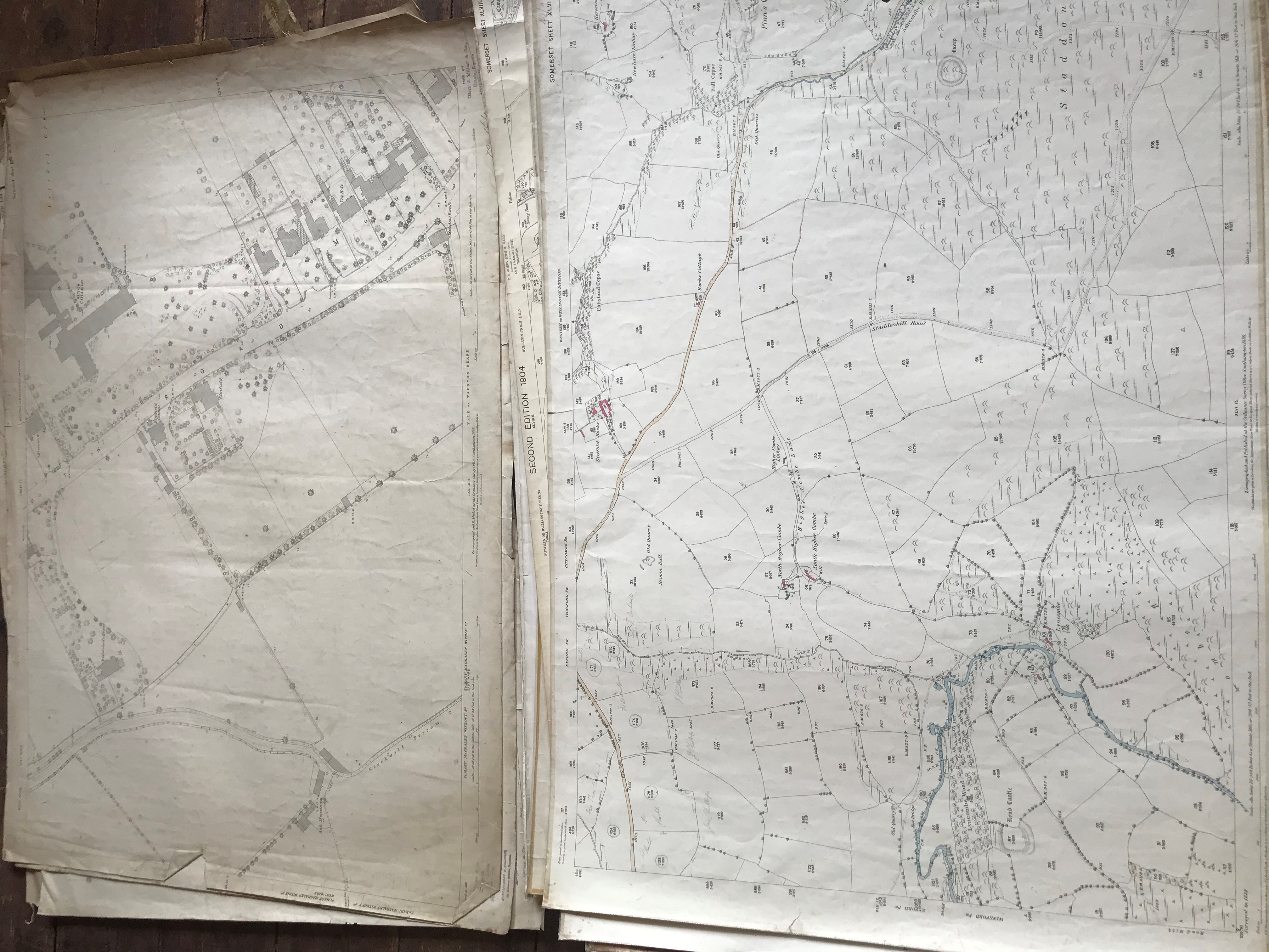 THIRTY 1:2500 ORDNANCE SURVEY MAPS featuring Chelston, Ham, Sampford Brett, Wellington, - Image 7 of 16