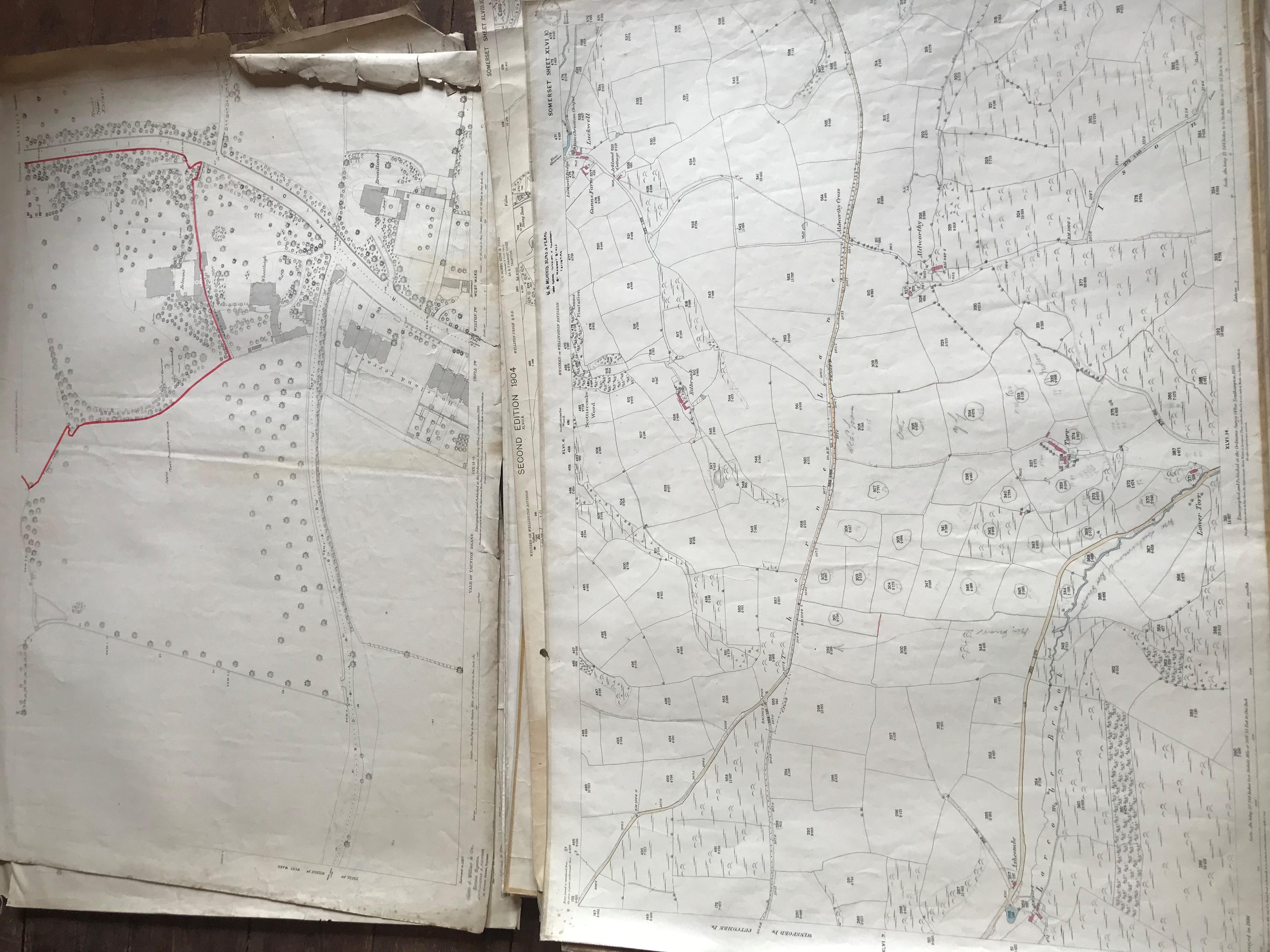 THIRTY 1:2500 ORDNANCE SURVEY MAPS featuring Chelston, Ham, Sampford Brett, Wellington, - Image 8 of 16