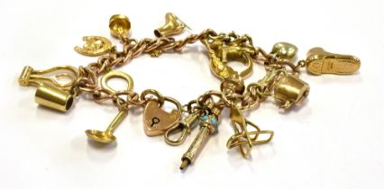 A 9CT GOLD BRACELET WITH THIRTEEN SMALL GOLD CHARMS And one silver charm, the thirteen charms