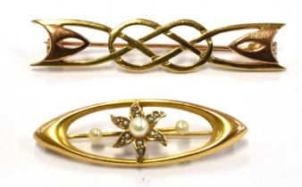 TWO GOLD BROOCHES Comprising an elliptical shaped 14ct gold small black and white pearl set,