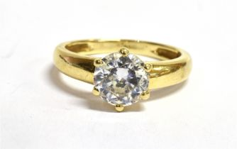 A CUBIC ZIRCONIA SINGLE STONE 14CT GOLD RING The CZ approx. 7mm diameter claw set to 14ct gold