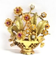 A FRENCH C1950'S 18CT THREE COLOUR GOLD BASKET SPRAY BROOCH Set with diamonds and rubies (rubies