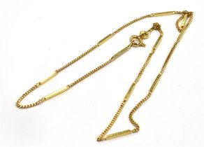 A HALLMARKED 9CT GOLD MODERN NECK CHAIN The box and curb link chain with bolt ring fastener, 16