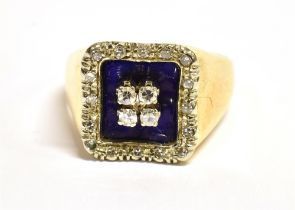 AN ART DECO DESIGN DIAMOND AND BLUE ENAMEL RING The signet style square head with a square of four