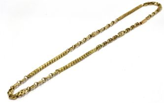 A VICTORIAN 15CT GOLD FANCY LINK CHAIN Figure of eight link sections alternating with hollow